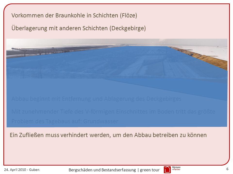 24. April 2010 - Guben Bergschäden und Bestandserfassung | green tour 6 Abbau beginnt mit Entfernung und Ablagerung des Deckgebirges Vorkommen der Bra