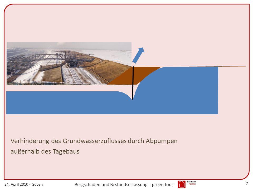 24. April 2010 - Guben Bergschäden und Bestandserfassung | green tour 7 Verhinderung des Grundwasserzuflusses durch Abpumpen außerhalb des Tagebaus