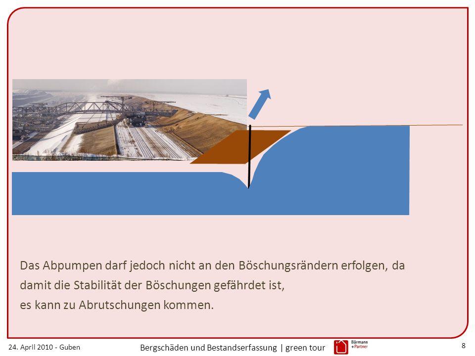 24. April 2010 - Guben Bergschäden und Bestandserfassung | green tour 8 Das Abpumpen darf jedoch nicht an den Böschungsrändern erfolgen, da damit die