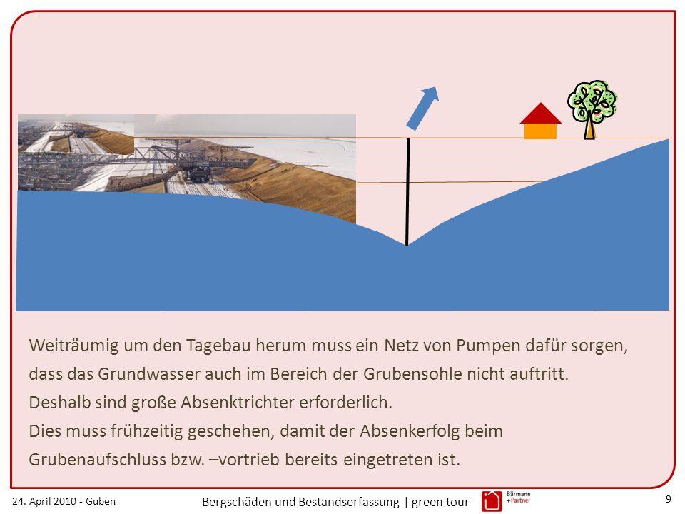 24. April 2010 - Guben Bergschäden und Bestandserfassung | green tour 9 Weiträumig um den Tagebau herum muss ein Netz von Pumpen dafür sorgen, dass da