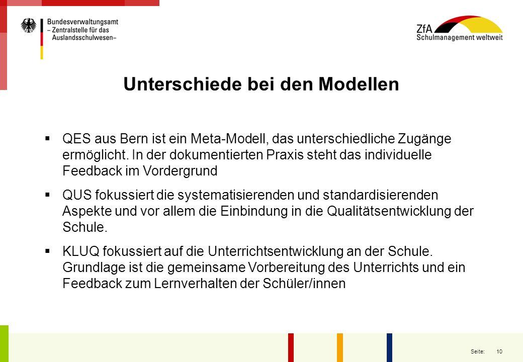 10 Seite: Unterschiede bei den Modellen QES aus Bern ist ein Meta-Modell, das unterschiedliche Zugänge ermöglicht. In der dokumentierten Praxis steht