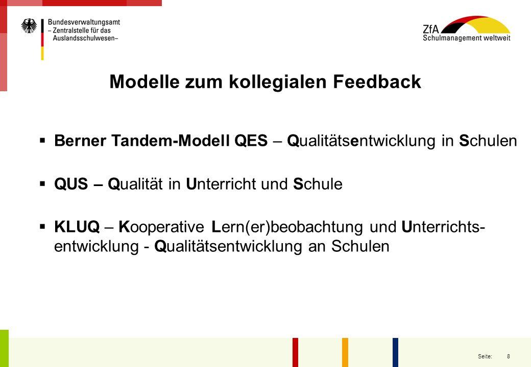 8 Seite: Modelle zum kollegialen Feedback Berner Tandem-Modell QES – Qualitätsentwicklung in Schulen QUS – Qualität in Unterricht und Schule KLUQ – Ko