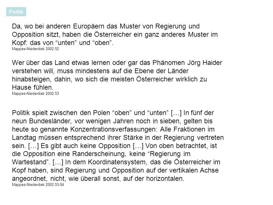 Da, wo bei anderen Europäern das Muster von Regierung und Opposition sitzt, haben die Österreicher ein ganz anderes Muster im Kopf: das von unten und oben.