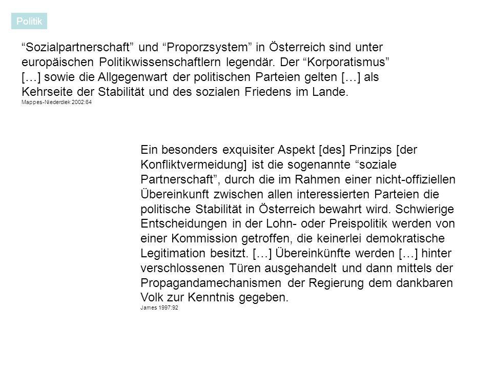 Sozialpartnerschaft und Proporzsystem in Österreich sind unter europäischen Politikwissenschaftlern legendär.