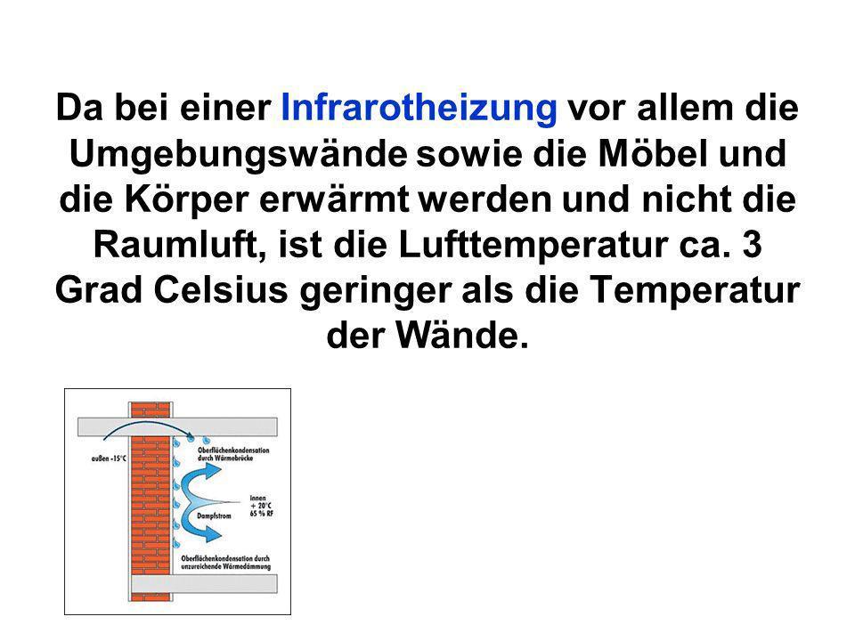Da bei einer Infrarotheizung vor allem die Umgebungswände sowie die Möbel und die Körper erwärmt werden und nicht die Raumluft, ist die Lufttemperatur