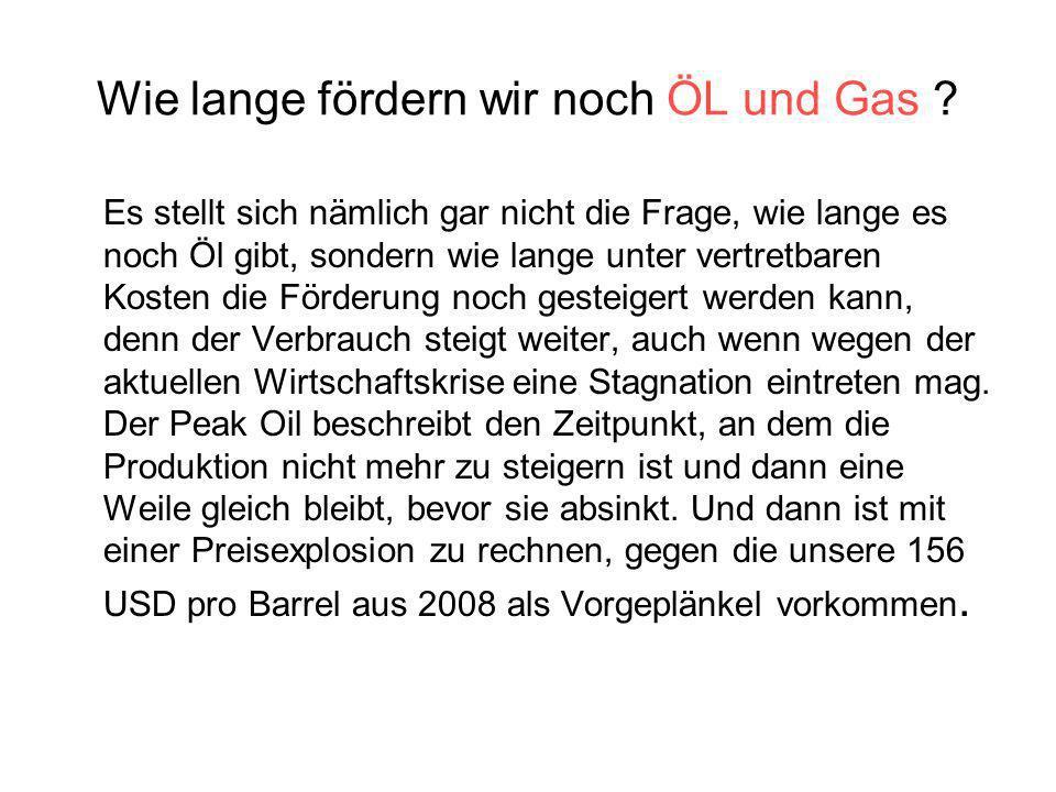 Wie lange fördern wir noch ÖL und Gas ? Es stellt sich nämlich gar nicht die Frage, wie lange es noch Öl gibt, sondern wie lange unter vertretbaren Ko