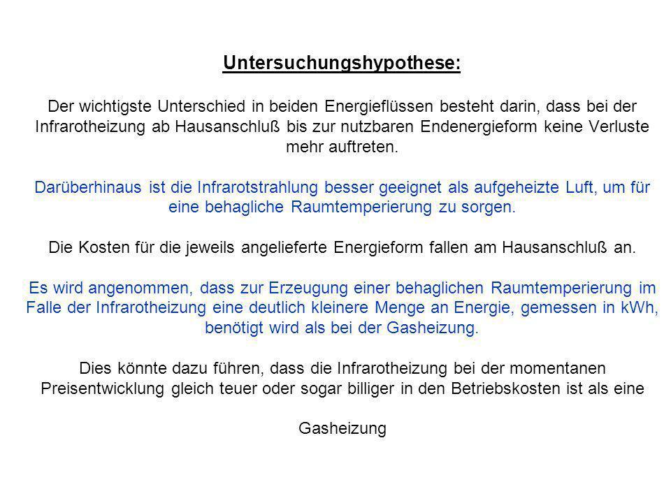 Untersuchungshypothese: Der wichtigste Unterschied in beiden Energieflüssen besteht darin, dass bei der Infrarotheizung ab Hausanschluß bis zur nutzba