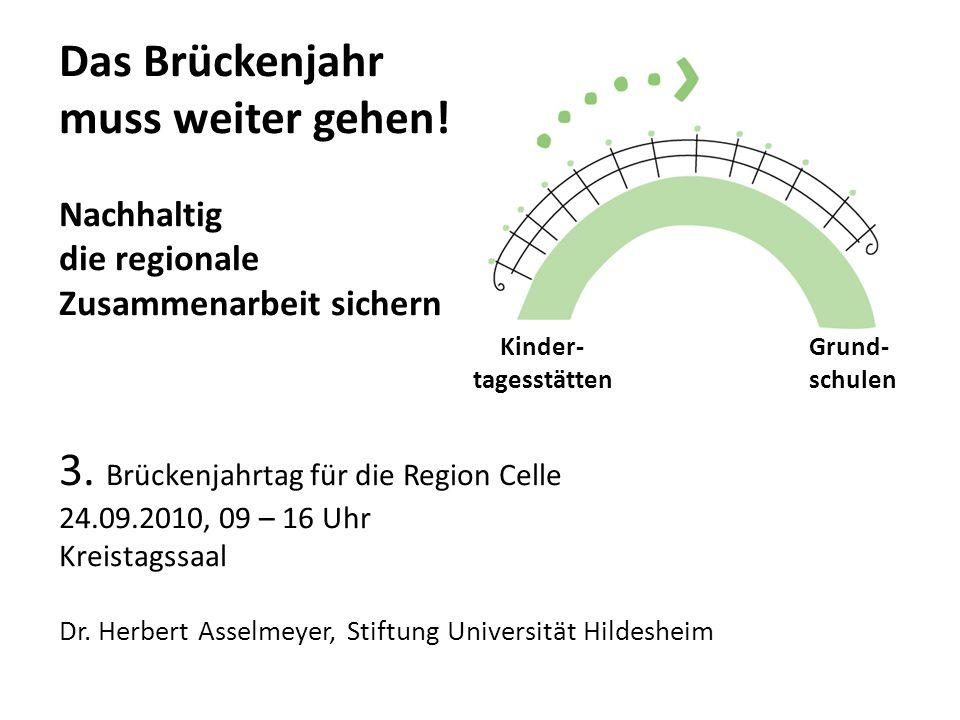 Das Brückenjahr muss weiter gehen! Nachhaltig die regionale Zusammenarbeit sichern Kinder- Grund- tagesstätten schulen 3. Brückenjahrtag für die Regio