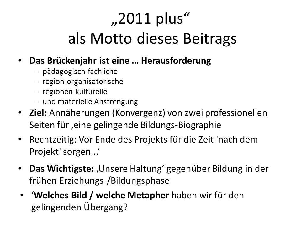 2011 plus als Motto dieses Beitrags Das Brückenjahr ist eine … Herausforderung – pädagogisch-fachliche – region-organisatorische – regionen-kulturelle