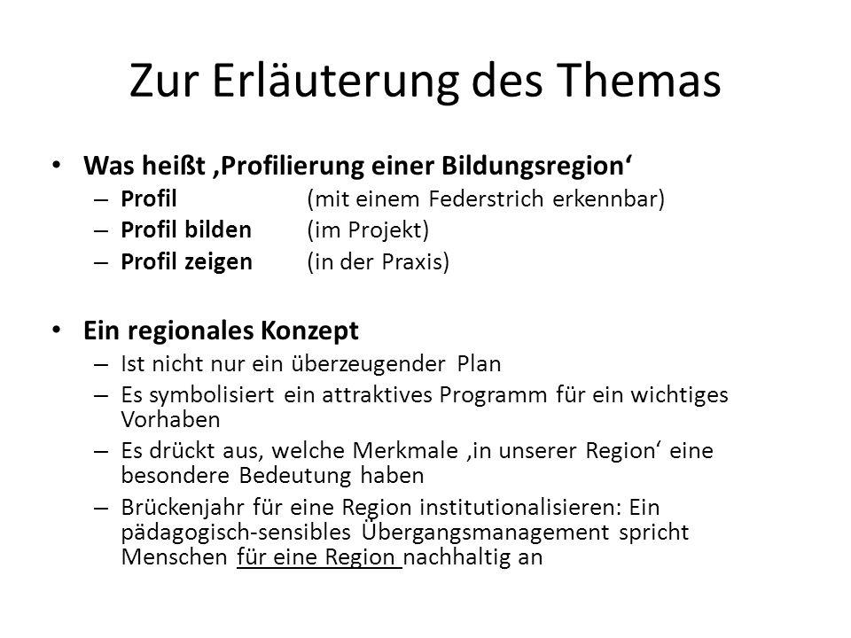 Zur Erläuterung des Themas Was heißt Profilierung einer Bildungsregion – Profil (mit einem Federstrich erkennbar) – Profil bilden (im Projekt) – Profi