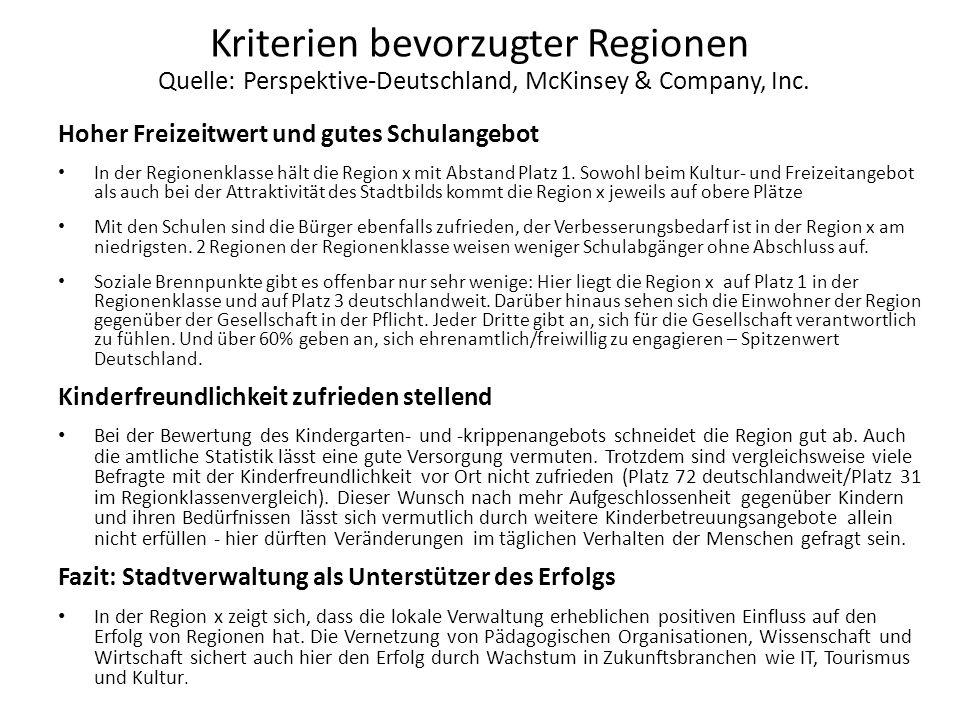 Kriterien bevorzugter Regionen Quelle: Perspektive-Deutschland, McKinsey & Company, Inc. Hoher Freizeitwert und gutes Schulangebot In der Regionenklas