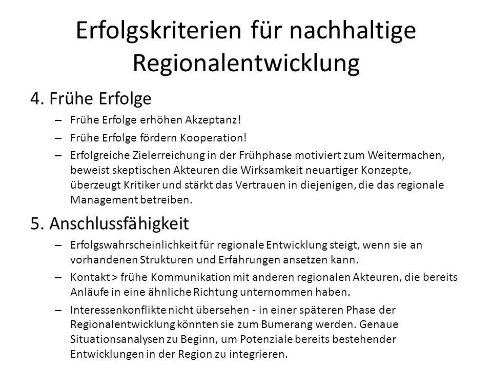 Erfolgskriterien für nachhaltige Regionalentwicklung 4. Frühe Erfolge – Frühe Erfolge erhöhen Akzeptanz! – Frühe Erfolge fördern Kooperation! – Erfolg