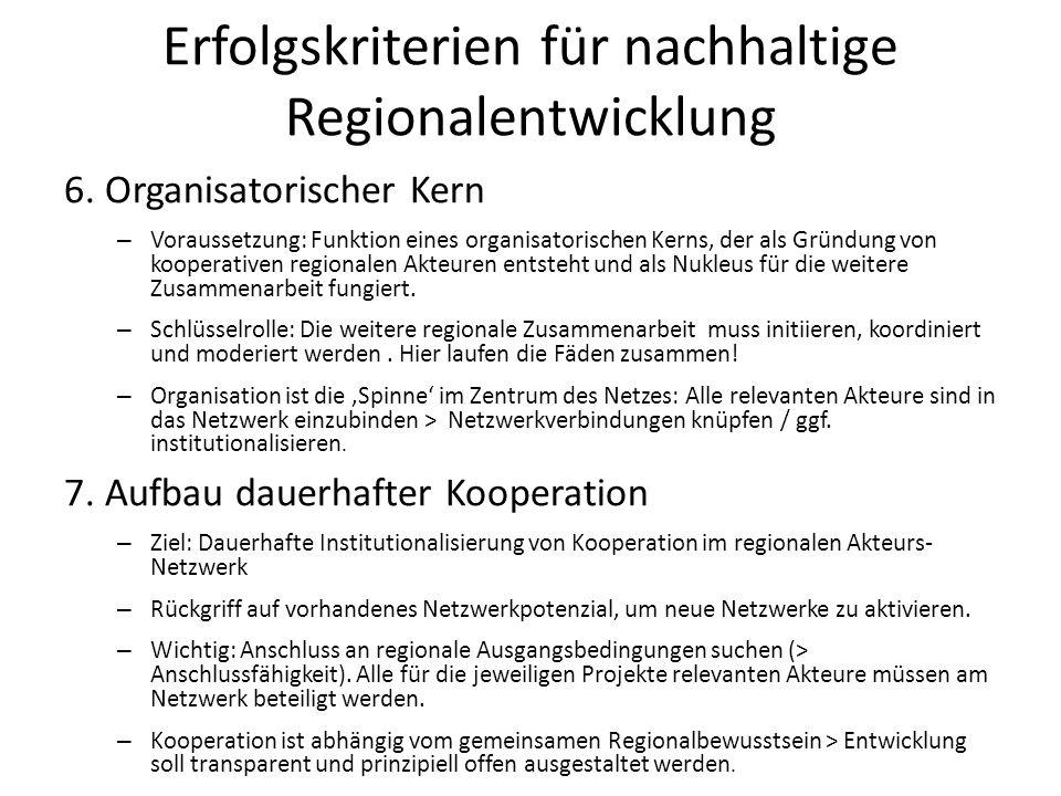 Erfolgskriterien für nachhaltige Regionalentwicklung 6. Organisatorischer Kern – Voraussetzung: Funktion eines organisatorischen Kerns, der als Gründu