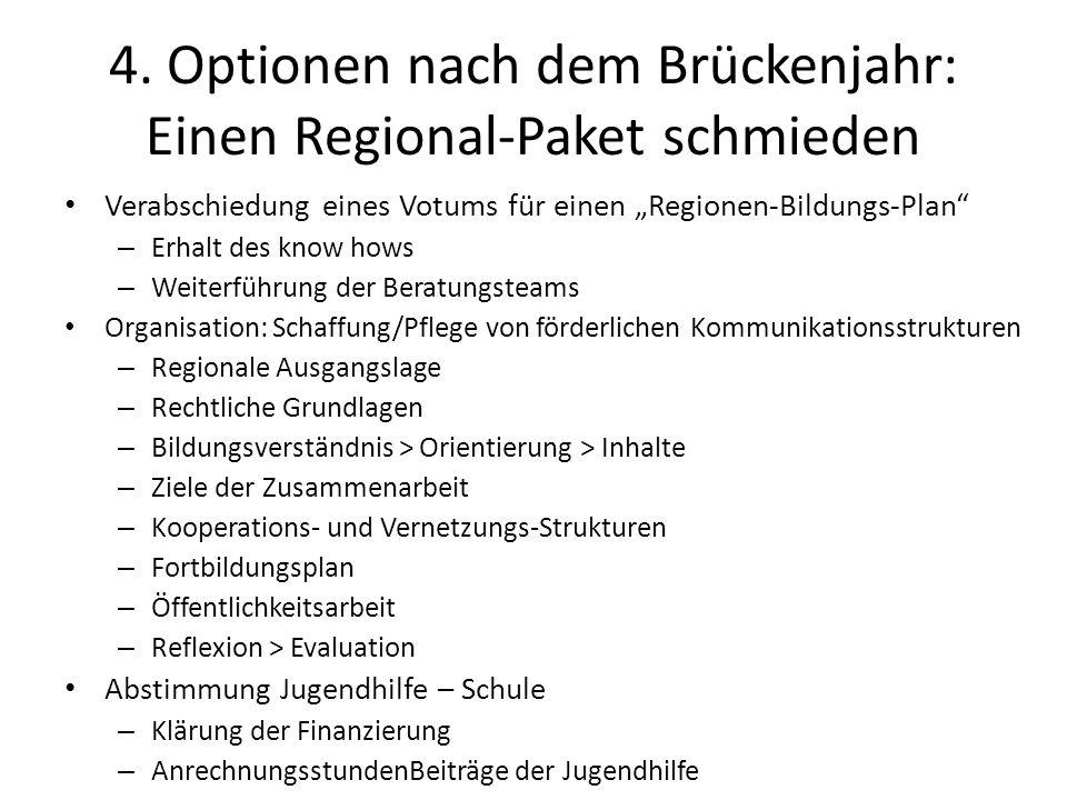 4. Optionen nach dem Brückenjahr: Einen Regional-Paket schmieden Verabschiedung eines Votums für einen Regionen-Bildungs-Plan – Erhalt des know hows –