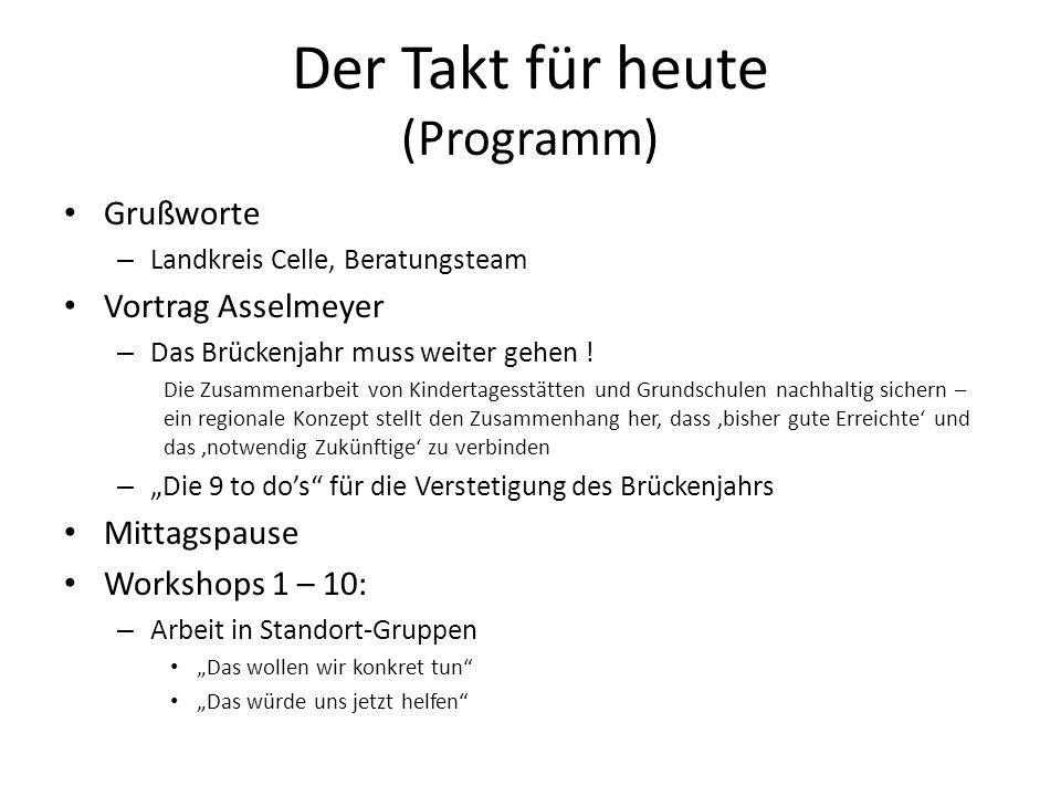 Der Takt für heute (Programm) Grußworte – Landkreis Celle, Beratungsteam Vortrag Asselmeyer – Das Brückenjahr muss weiter gehen ! Die Zusammenarbeit v
