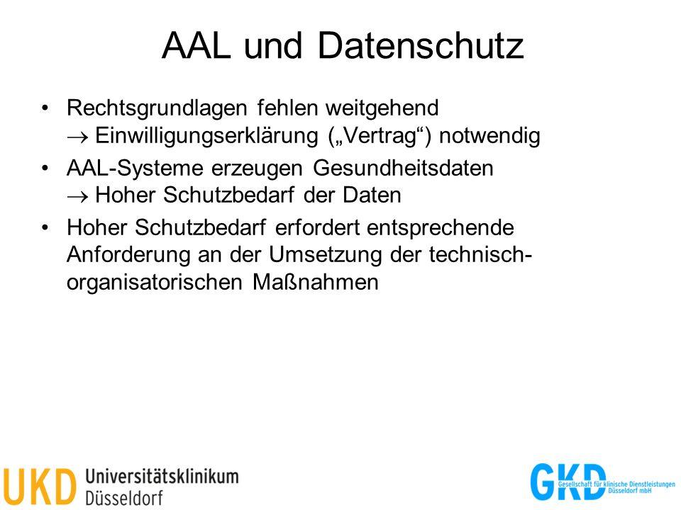 AAL und Datenschutz Rechtsgrundlagen fehlen weitgehend Einwilligungserklärung (Vertrag) notwendig AAL-Systeme erzeugen Gesundheitsdaten Hoher Schutzbe