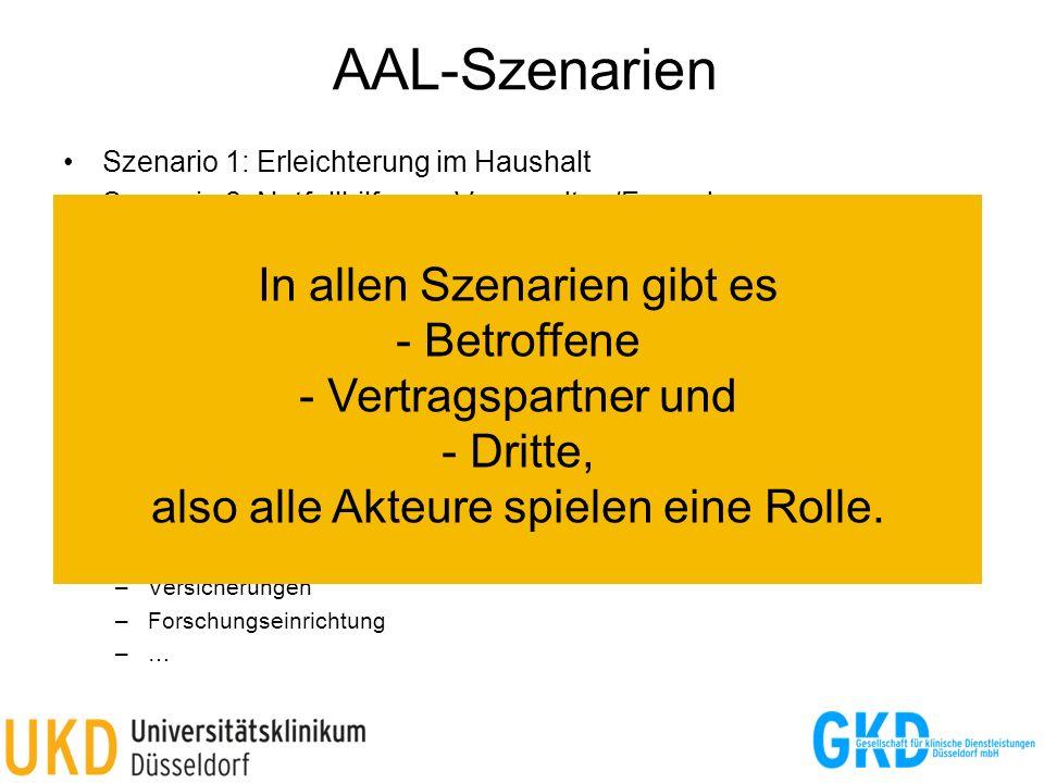 AAL-Szenarien Szenario 1: Erleichterung im Haushalt Szenario 2: Notfallhilfe von Verwandten/Freunden Szenario 3: Notfallhilfe durch einen kommerzielle