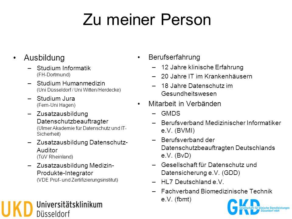Zu meiner Person Ausbildung –Studium Informatik (FH-Dortmund) –Studium Humanmedizin (Uni Düsseldorf / Uni Witten/Herdecke) –Studium Jura (Fern-Uni Hag