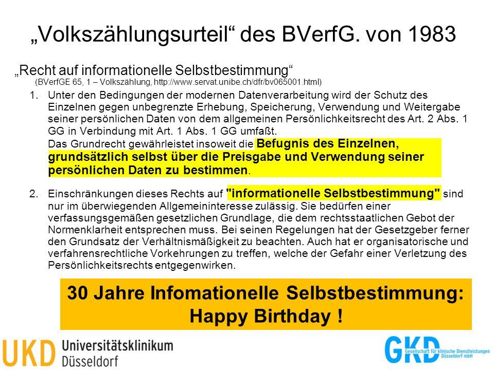 Recht auf informationelle Selbstbestimmung (BVerfGE 65, 1 – Volkszählung, http://www.servat.unibe.ch/dfr/bv065001.html) 1.Unter den Bedingungen der mo