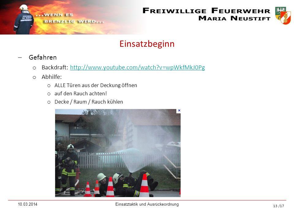/17 Einsatzbeginn Gefahren o Backdraft: http://www.youtube.com/watch?v=wpWkfMkJ0Pghttp://www.youtube.com/watch?v=wpWkfMkJ0Pg o Abhilfe: o ALLE Türen a