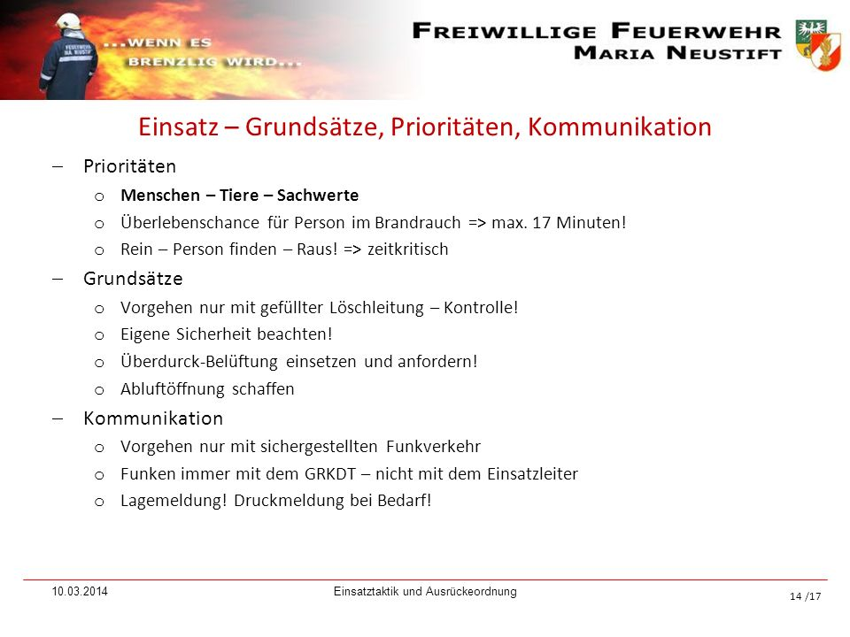 /17 Einsatz – Grundsätze, Prioritäten, Kommunikation Prioritäten o Menschen – Tiere – Sachwerte o Überlebenschance für Person im Brandrauch => max. 17