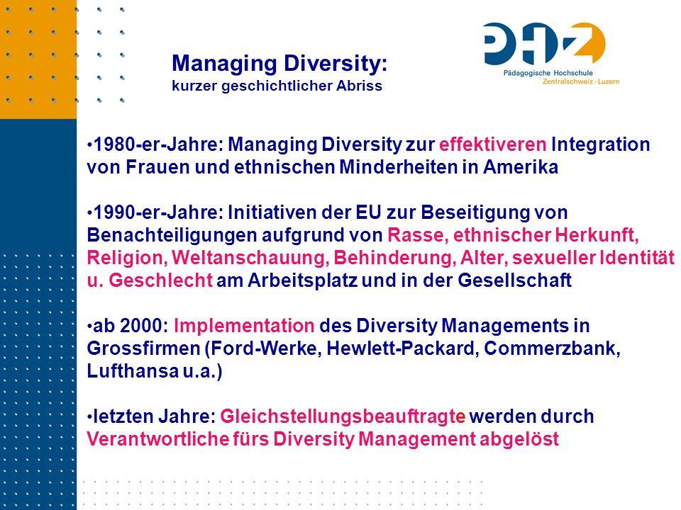 1980-er-Jahre: Managing Diversity zur effektiveren Integration von Frauen und ethnischen Minderheiten in Amerika 1990-er-Jahre: Initiativen der EU zur