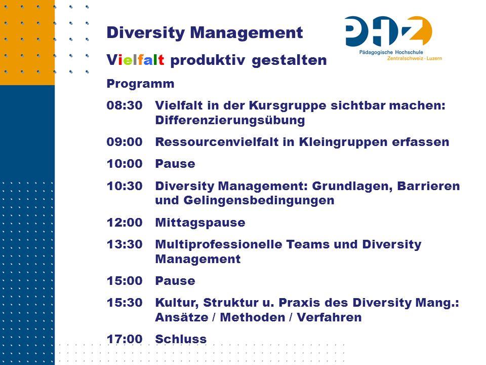 Diversity Management Vielfalt produktiv gestalten Programm 08:30 Vielfalt in der Kursgruppe sichtbar machen: Differenzierungsübung 09:00Ressourcenviel