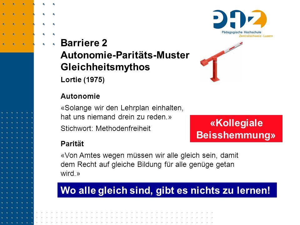 Barriere 2 Autonomie-Paritäts-Muster Gleichheitsmythos Lortie (1975) Parität «Von Amtes wegen müssen wir alle gleich sein, damit dem Recht auf gleiche