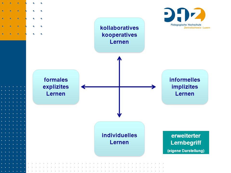 informelles implizites Lernen kollaboratives kooperatives Lernen kollaboratives kooperatives Lernen formales explizites Lernen individuelles Lernen er