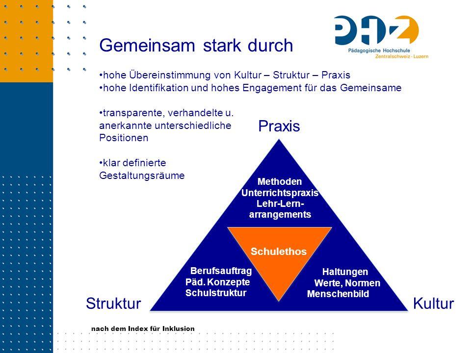 Gemeinsam stark durch hohe Übereinstimmung von Kultur – Struktur – Praxis hohe Identifikation und hohes Engagement für das Gemeinsame transparente, ve