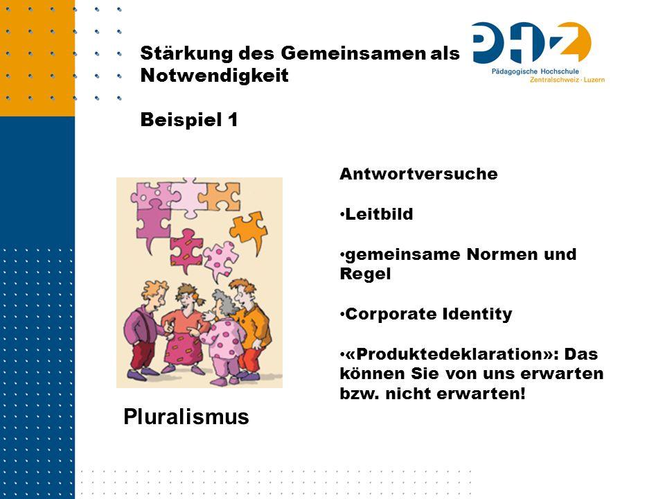 Pluralismus Stärkung des Gemeinsamen als Notwendigkeit Beispiel 1 Antwortversuche Leitbild gemeinsame Normen und Regel Corporate Identity «Produktedek