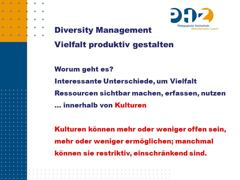 diversity: das Phönomen «Vielfalt» Diversity: umfassendes Konzept des betrieblichen Umgangs mit Unterschieden; auch Managing Diversity oder eben – Diversity Management