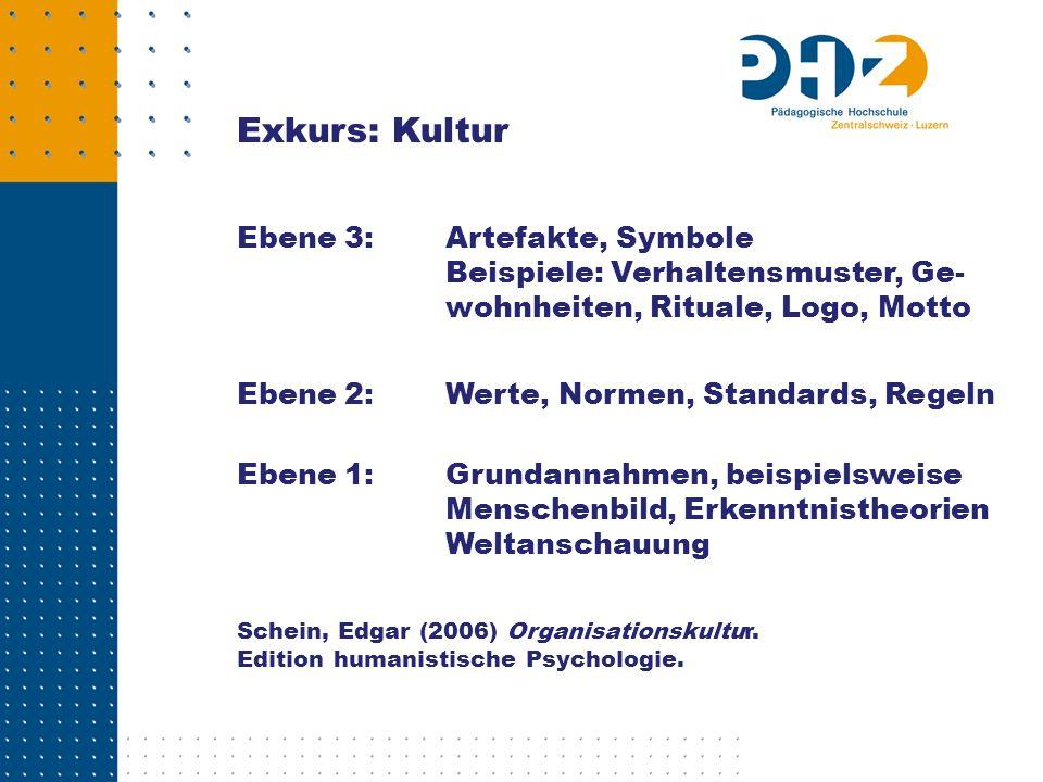 Exkurs: Kultur Ebene 3:Artefakte, Symbole Beispiele: Verhaltensmuster, Ge- wohnheiten, Rituale, Logo, Motto Ebene 2:Werte, Normen, Standards, Regeln E