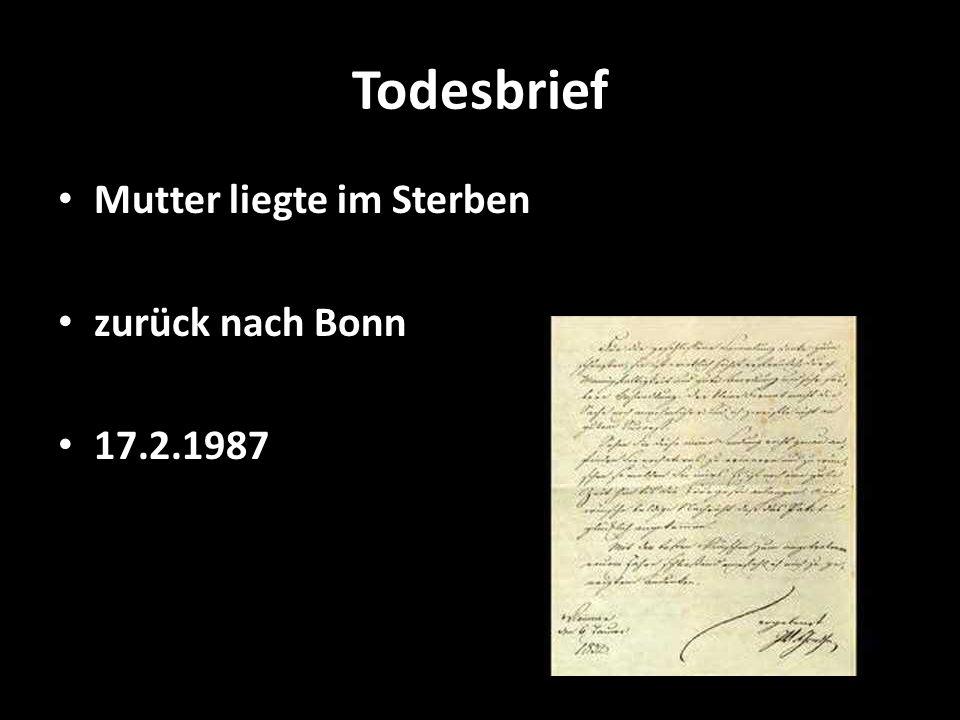 Todesbrief Mutter liegte im Sterben zurück nach Bonn 17.2.1987