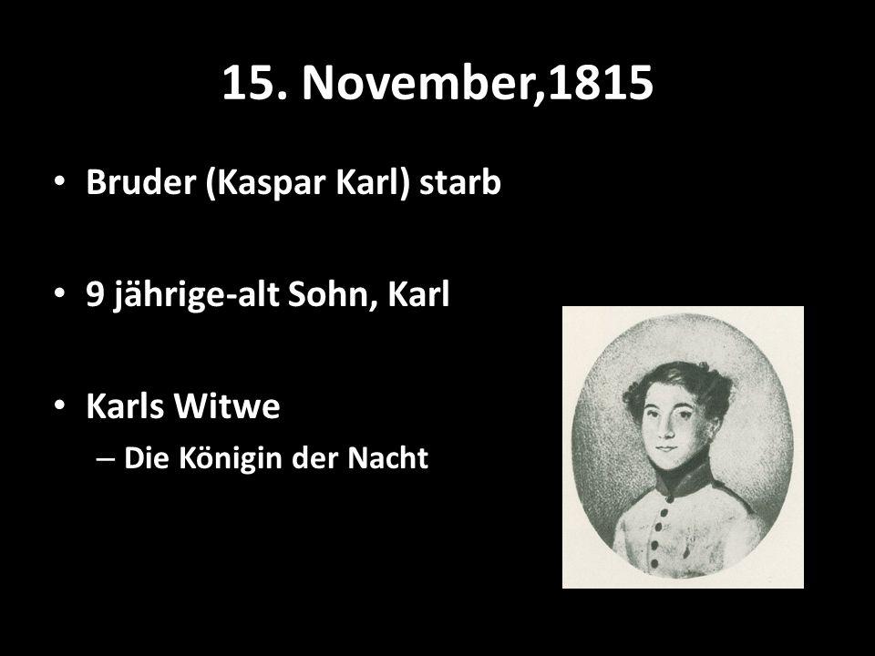 15. November,1815 Bruder (Kaspar Karl) starb 9 jährige-alt Sohn, Karl Karls Witwe – Die Königin der Nacht