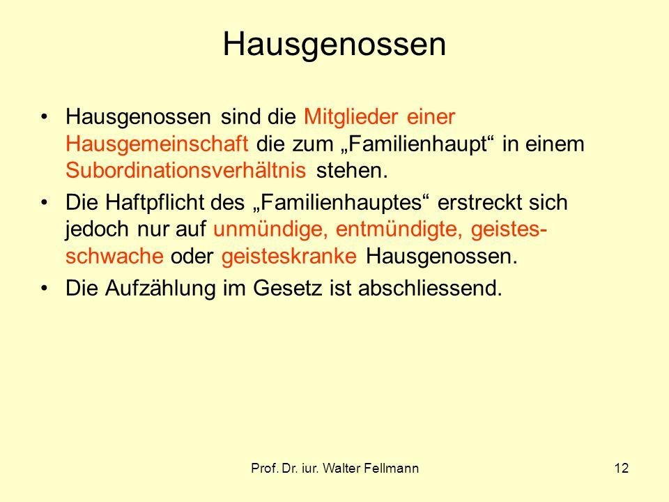 Prof. Dr. iur. Walter Fellmann12 Hausgenossen Hausgenossen sind die Mitglieder einer Hausgemeinschaft die zum Familienhaupt in einem Subordinationsver