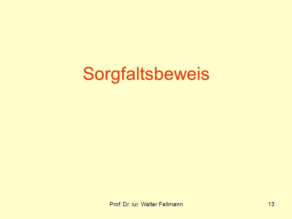 Prof. Dr. iur. Walter Fellmann13 Sorgfaltsbeweis