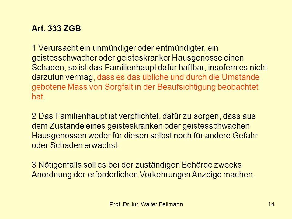 Prof. Dr. iur. Walter Fellmann14 Art. 333 ZGB 1 Verursacht ein unmündiger oder entmündigter, ein geistesschwacher oder geisteskranker Hausgenosse eine