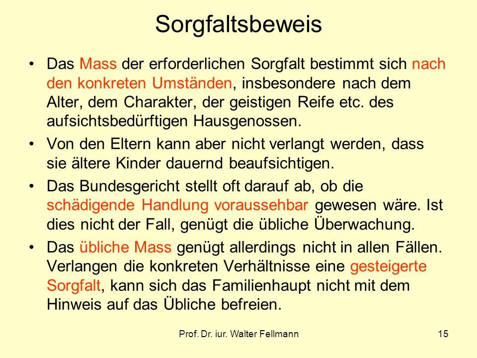 Prof. Dr. iur. Walter Fellmann15 Sorgfaltsbeweis Das Mass der erforderlichen Sorgfalt bestimmt sich nach den konkreten Umständen, insbesondere nach de