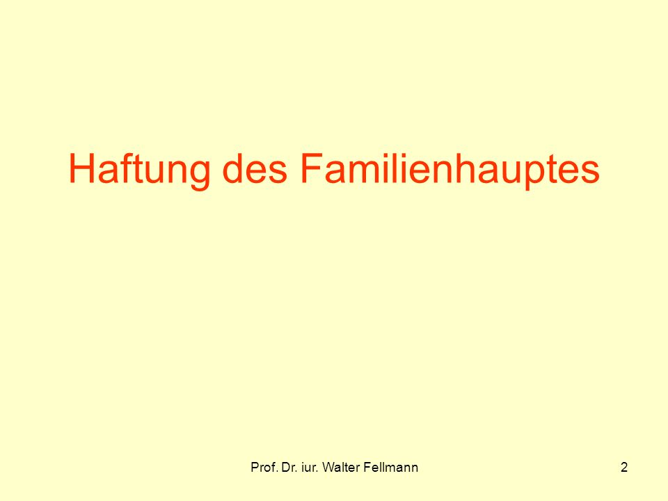 Prof. Dr. iur. Walter Fellmann2 Haftung des Familienhauptes