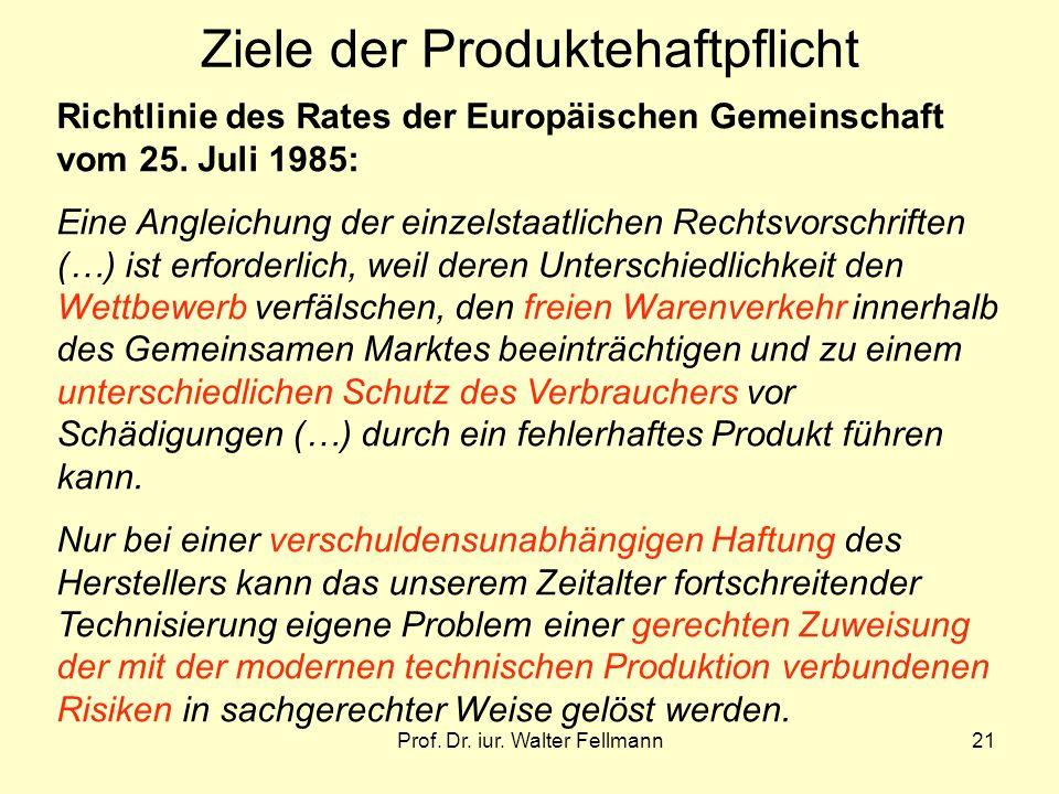 Prof. Dr. iur. Walter Fellmann21 Ziele der Produktehaftpflicht Richtlinie des Rates der Europäischen Gemeinschaft vom 25. Juli 1985: Eine Angleichung