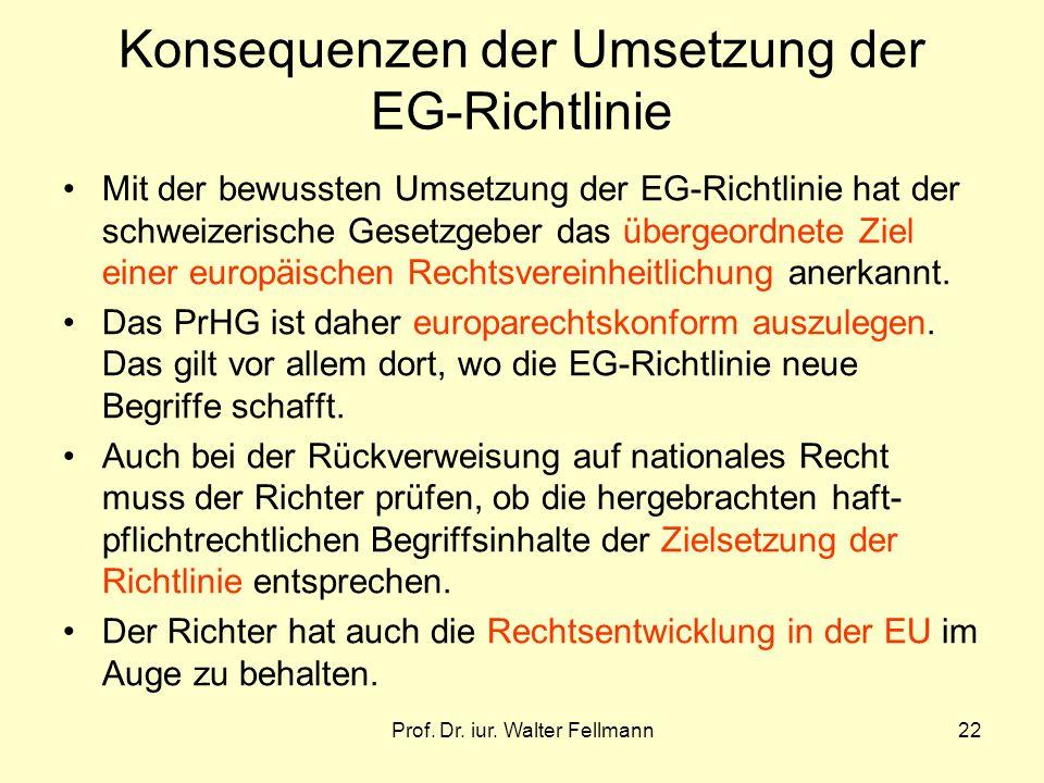 Prof. Dr. iur. Walter Fellmann22 Konsequenzen der Umsetzung der EG-Richtlinie Mit der bewussten Umsetzung der EG-Richtlinie hat der schweizerische Ges