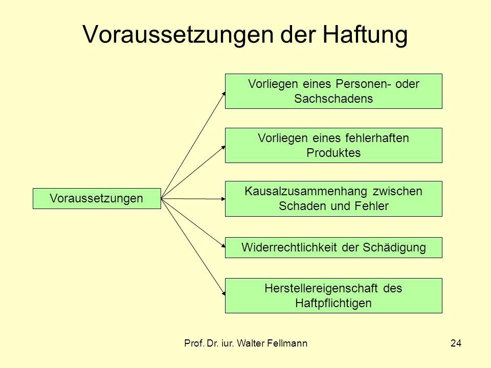Prof. Dr. iur. Walter Fellmann24 Voraussetzungen der Haftung Voraussetzungen Vorliegen eines Personen- oder Sachschadens Vorliegen eines fehlerhaften