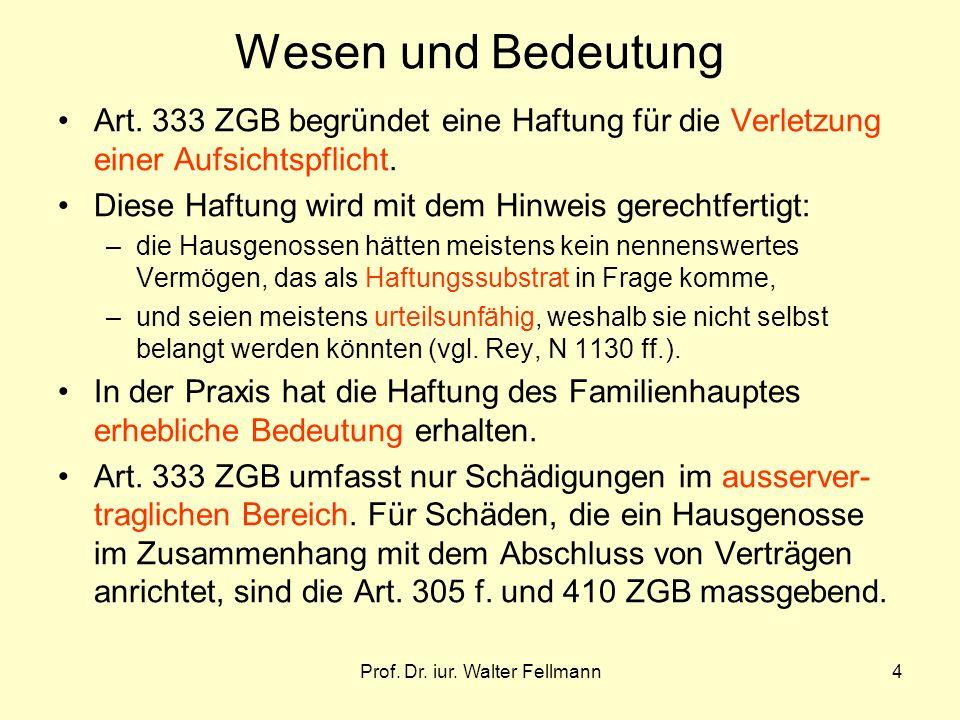 Prof. Dr. iur. Walter Fellmann4 Wesen und Bedeutung Art. 333 ZGB begründet eine Haftung für die Verletzung einer Aufsichtspflicht. Diese Haftung wird