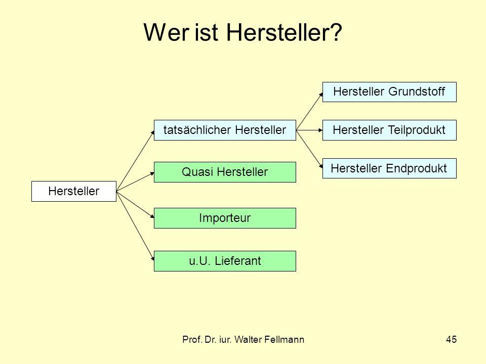Prof. Dr. iur. Walter Fellmann45 Wer ist Hersteller? Hersteller tatsächlicher Hersteller Quasi Hersteller Importeur u.U. Lieferant Hersteller Grundsto