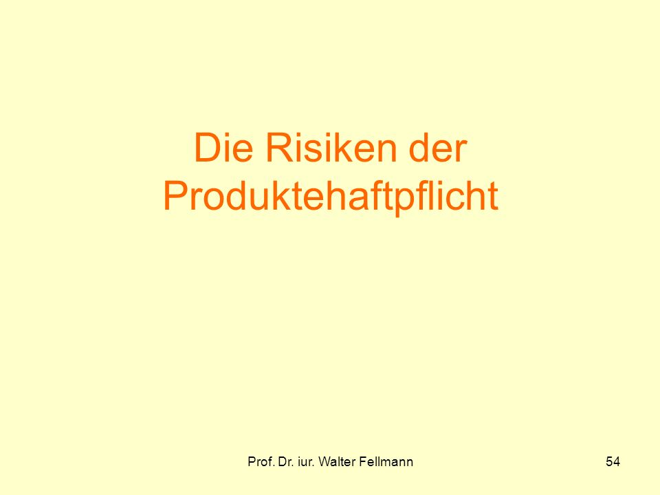 Prof. Dr. iur. Walter Fellmann54 Die Risiken der Produktehaftpflicht