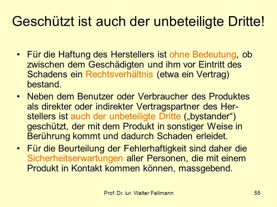 Prof. Dr. iur. Walter Fellmann55 Geschützt ist auch der unbeteiligte Dritte! Für die Haftung des Herstellers ist ohne Bedeutung, ob zwischen dem Gesch