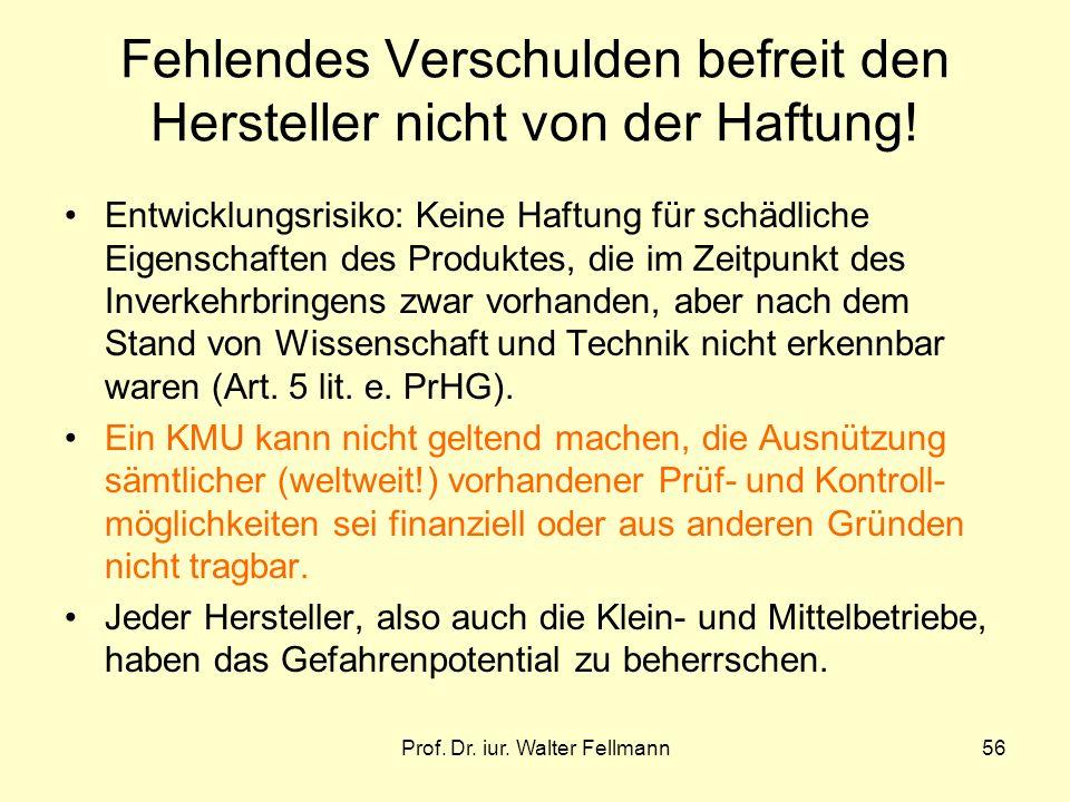 Prof. Dr. iur. Walter Fellmann56 Fehlendes Verschulden befreit den Hersteller nicht von der Haftung! Entwicklungsrisiko: Keine Haftung für schädliche