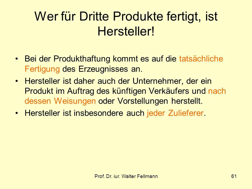 Prof. Dr. iur. Walter Fellmann61 Wer für Dritte Produkte fertigt, ist Hersteller! Bei der Produkthaftung kommt es auf die tatsächliche Fertigung des E