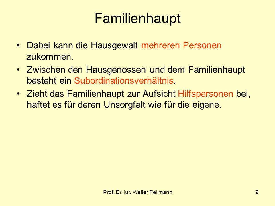 Prof. Dr. iur. Walter Fellmann9 Familienhaupt Dabei kann die Hausgewalt mehreren Personen zukommen. Zwischen den Hausgenossen und dem Familienhaupt be